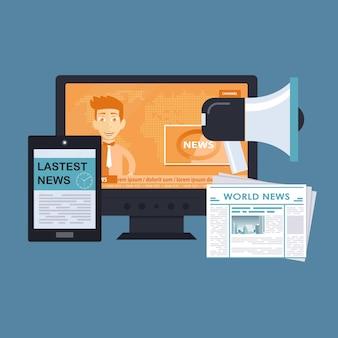 Breaking news-website mit sender auf dem monitor und tablet