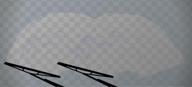 Breite autoscheibe mit zwei scheibenwischern auf transparent
