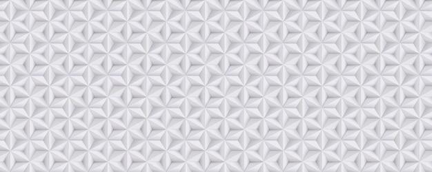 Breiter abstrakter weißer, grauer hintergrund, 3d-papiermuster mit sternen, geometrisch