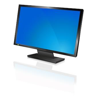 Breiter computer-flachbildschirm oder flachbildfernseher, reflektierend