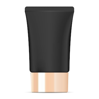 Breiter schwarzer kosmetischer cremeschlauch mit goldenem deckel.