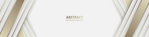 Breiter weißer abstrakter luxushintergrund mit goldenen linien und schatten.