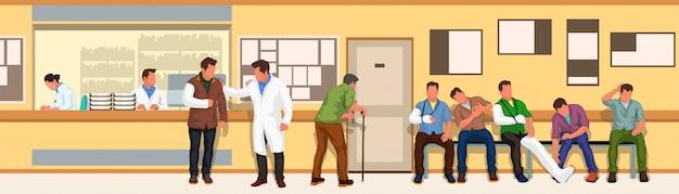 Breites bild des krankenzimmers
