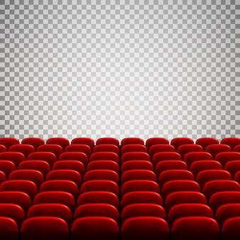 Breites leeres kino-auditorium mit roten sitzen. reihen roter theatersitze.