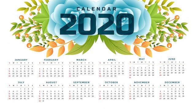 Breites schablonendesign des blumenkalenders des neuen jahres 2020