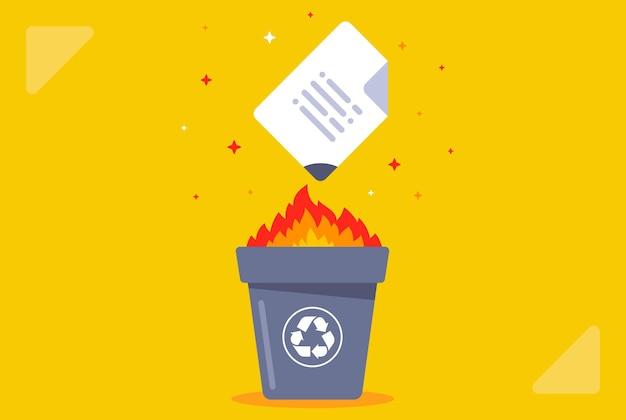 Brennen sie das dokument in den papierkorb. daten zerstören. flache vektorillustration.