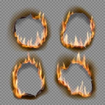 Brennen sie löcher, verbrennen sie papierfeuer mit realistischen objekten mit verkohlten kanten. flamme auf blatt. gebrannte abstrakte löcher in feuerflammen, zerrissene ränder und zerrissene rahmen auf transparentem hintergrund