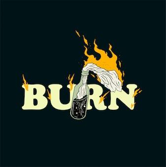 Brennen sie molotowcocktail-illustrationsdesign