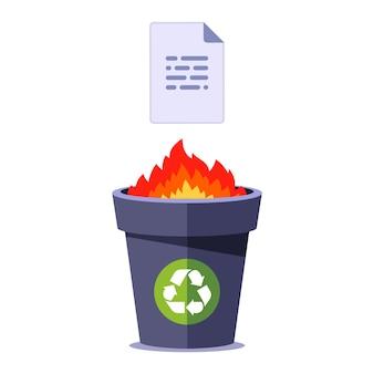 Brennen sie papier in den papierkorb. dokument in brand zerstören. flache illustration isoliert.