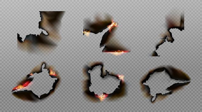 Brennen sie papierecken, löcher und ränder, verbrannte seite mit schwelendem feuer an verkohlten unebenen kanten