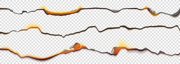 Brennen sie papierränder, verbrannte seite mit schwelendem feuer an verkohlten unebenen kanten