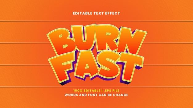 Brennen sie schnell bearbeitbaren texteffekt im modernen 3d-stil
