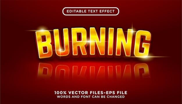 Brennen von bearbeitbaren texteffekt-premium-vektoren