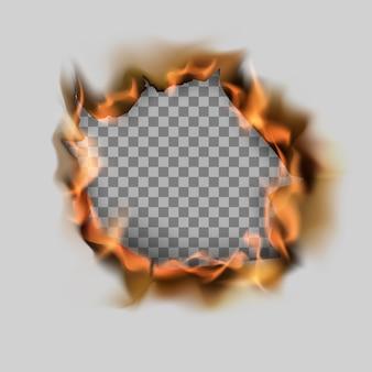 Brennen zerrissenes loch in papierblatt und flamme.