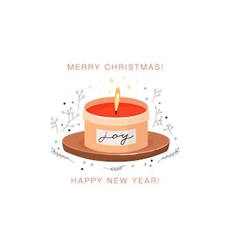 Brennende aromatische kerze im glas weihnachts- und happy new year-grußkarte