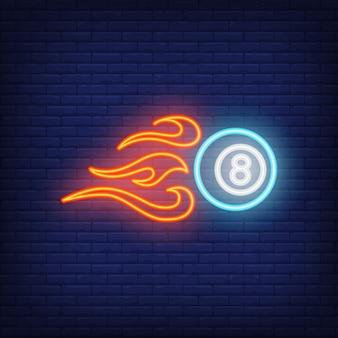 Brennende billardkugel-leuchtreklame