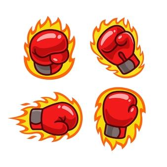 Brennende boxhandschuhe cartoon-set