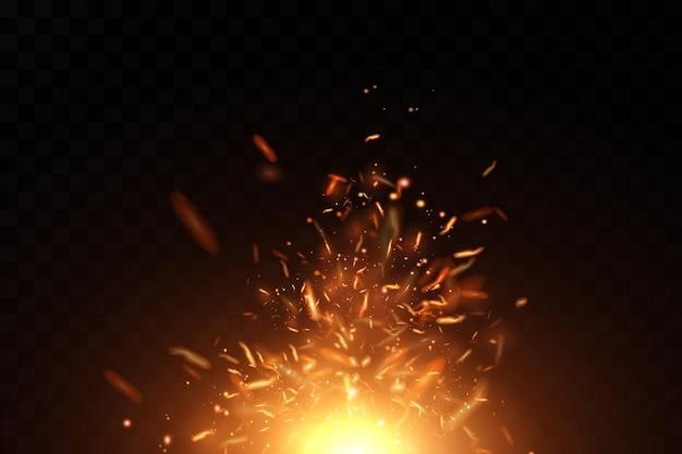 Brennende feurige funken isoliert auf schwarz