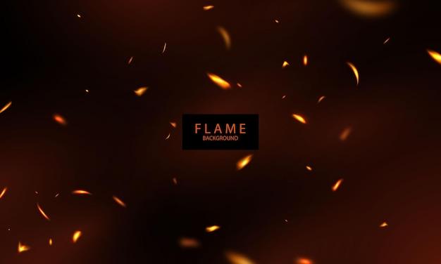 Brennende glühende funken realistische feuerflammen abstrakter hintergrund