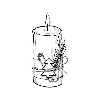 Brennende kerze mit weihnachtsdekor lokalisiert auf weißem hintergrund. handgezeichnete vektorillustration.
