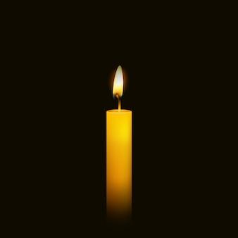 Brennende kerze über schwarz.