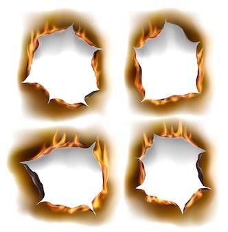 Brennende löcher, brennen papierfeuer mit realistischen verkohlten kanten isolierte objekte.