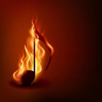 Brennende musiknote