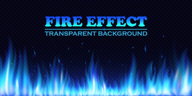 Brennende realistische blaue feuerflammen. glühende partikel. lichteffekt mit transparenzhintergrund