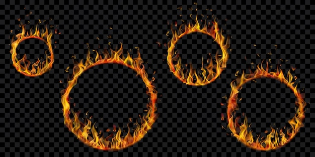 Brennende reifen in verschiedenen größen mit durchscheinenden feuerflammen auf transparent