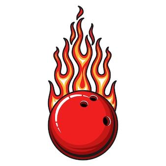 Brennende rote bowlingkugel mit heißer feuerflamme