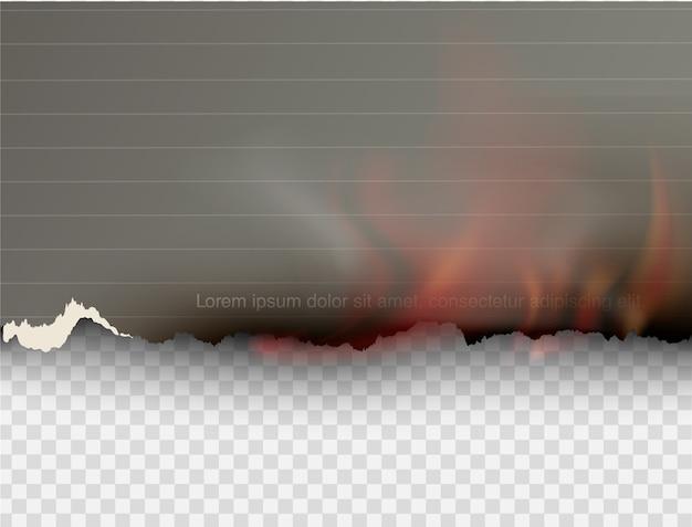 Brennende schablonen des transparenten entwurfs brennen papier mit feuer