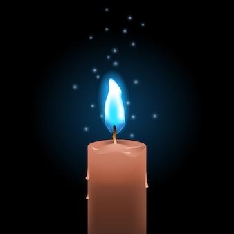 Brennende wachskerze mit blauem feuer