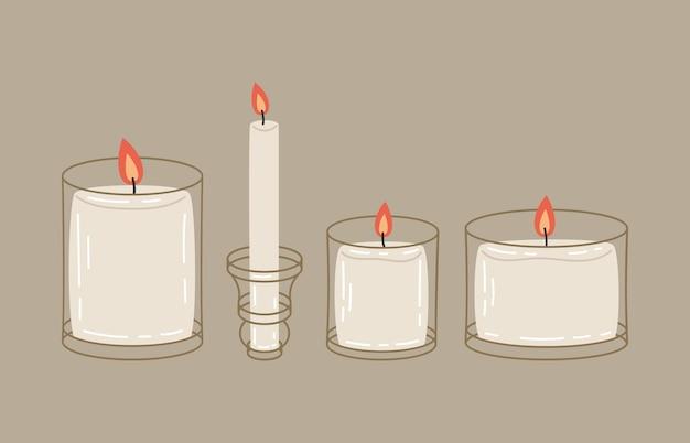 Brennende wachskerzen im glasgefäßkarikaturvektorillustrationssymbolsatz