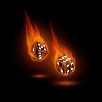 Brennende würfel isoliert