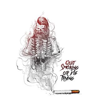 Brennende zigarette als hipster-schädel-förmiges design mit tödlichem rauch als symbol für die raucherentwöhnung