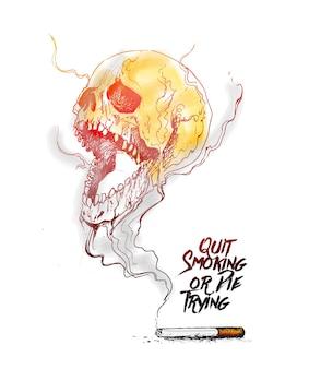 Brennende zigarette als totenkopf-design mit tödlichem rauch als symbol dafür, dass das rauchen aufgehört hat