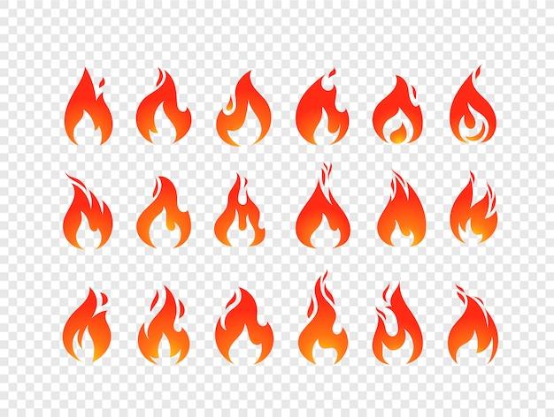 Brennender flammenvektorsatz lokalisiert auf transparentem hintergrund