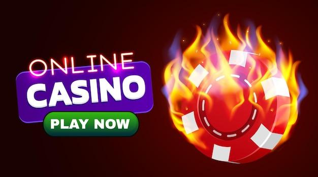 Brennendes casino-chip-banner. heißer casino-feuer-poker.