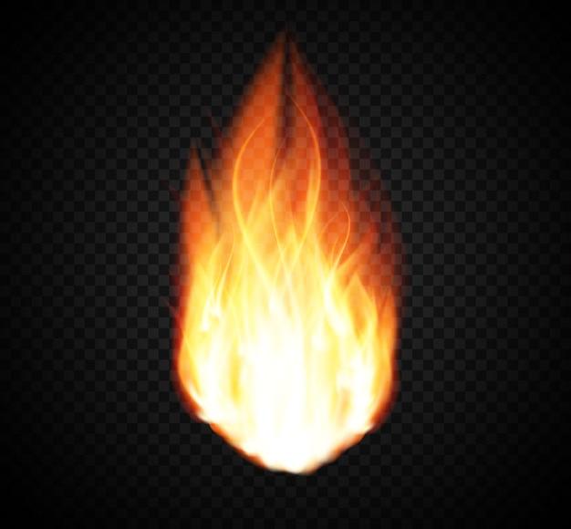 Brennendes feuer spezieller lichteffekt auf transparent