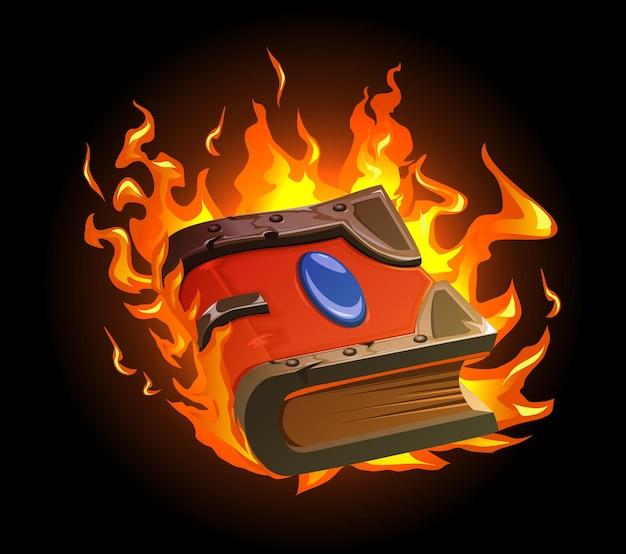 Brennendes magisches buchkarikaturkonzept mit altem manuskript