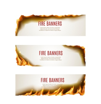 Brennendes papierfeuer flammt vektorbanner mit rändern und ecken von realistischer heißer flamme, funken, asche und rauch auf. werbeflyer oder heißer angebotsgutschein mit leuchtend gelben feuerzungen