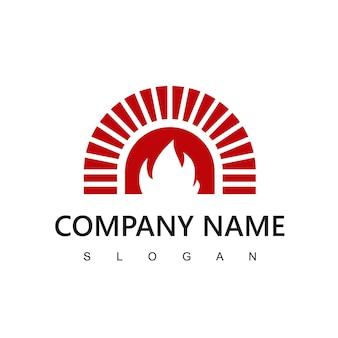 Brennholzofen und holzbefeuerte logo-design-vorlage