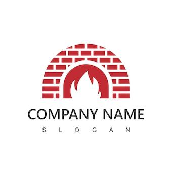 Brennholzofen und holzbefeuerte logo-vorlage. pizza, restaurantsymbol