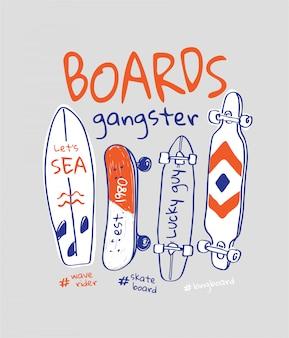 Brettgangsterslogan mit gezeichneter skateboardillustration der karikaturhand