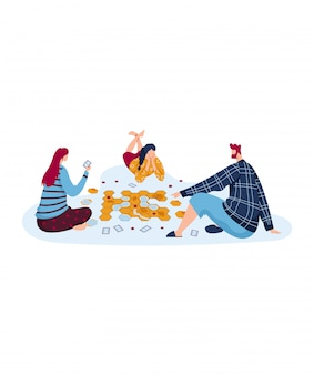 Brettspiel für die ganze familie, interessantes hobby, spaß haben, entwurf in der karikaturartillustration, lokalisiert auf weiß.