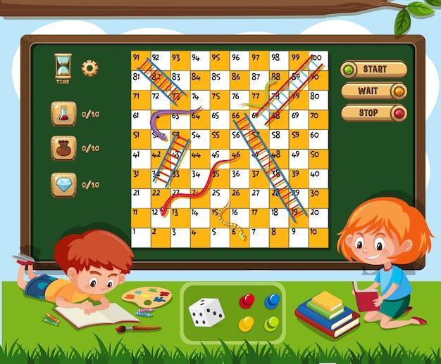 Brettspiel mit dem buch mit zwei kindern leseauf gras