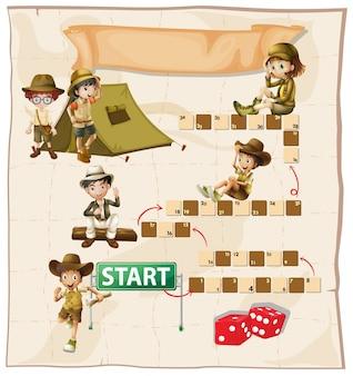 Brettspiel-vorlage mit kindern campen
