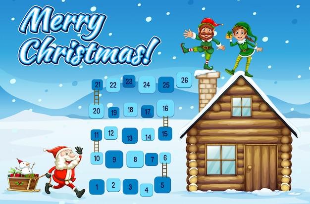 Brettspiel-vorlage mit santa und elfen