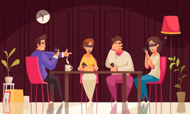 Brettspiele mafia-komposition mit vier leuten sitzt am tisch und einer von ihnen führt