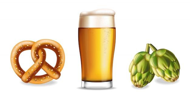 Brezel bier und hopfen isoliert